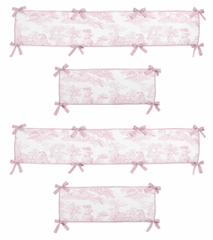 Pink French Toile Collection Crib Bumper by Sweet Jojo Designs