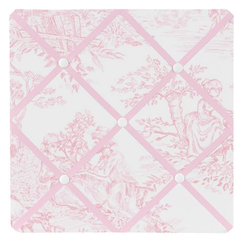 Pink French Toile Fabric Memory/Memo Photo Bulletin Board - Click to enlarge