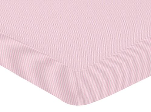 Pink French Toile Fitted Crib Sheet for Baby and Toddler Bedding Sets by Sweet Jojo Designs - Gingham Print - Click to enlarge