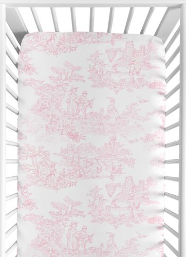 Pink French Toile Fitted Crib Sheet for Baby and Toddler Bedding Sets by Sweet Jojo Designs - Toile Print - Click to enlarge