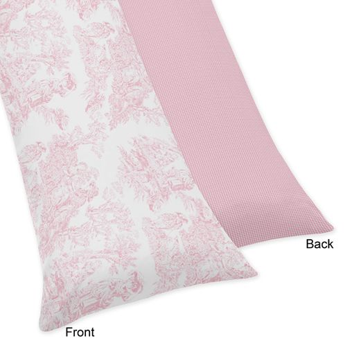 Pink French Toile Full Length Double Zippered Body Pillow Case Cover by Sweet Jojo Designs - Click to enlarge