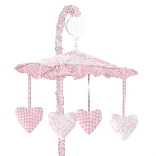 Pink French Toile Musical Crib Mobile - Click to enlarge