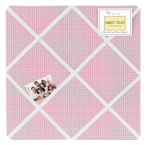 Pink Gingham Fabric Memory Memo Photo Bulletin Board For French Toile Collection By Sweet Jojo Designs Only 27 99