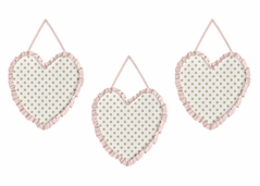 Pink, Gold and White Wall Hanging Decor for Watercolor Floral Collection by Sweet Jojo Designs - Set of 3