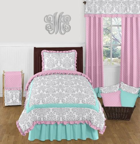 Pink, Gray and Turquoise Skylar 4pc Twin Girls Bedding Set  by Sweet Jojo Designs - Click to enlarge