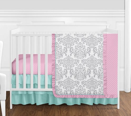 Damask and Polka Dot Baby Girl Nursery Crib Bedding Set by Sweet Jojo Designs - 4 pieces - Pink, Grey and Turquoise Blue Skylar - Click to enlarge