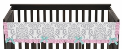 Pink, Gray and Turquoise Skylar Baby Crib Long Rail Guard Cover by Sweet Jojo Designs