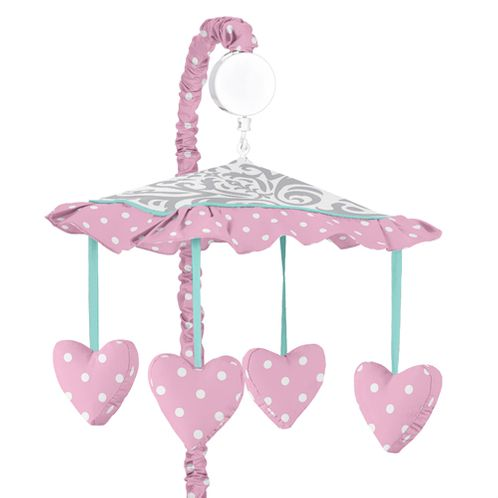 Pink, Gray and Turquoise Skylar Musical Baby Crib Mobile by Sweet Jojo Designs - Click to enlarge