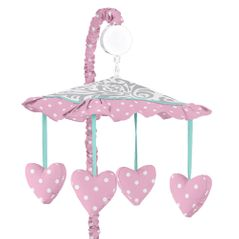 Pink, Gray and Turquoise Skylar Musical Baby Crib Mobile by Sweet Jojo Designs