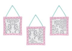 Pink, Gray and Turquoise Skylar Wall Hanging Accessories by Sweet Jojo Designs