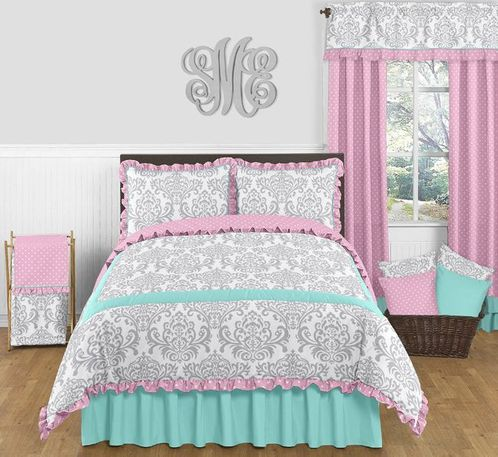 Pink, Gray and Turquoise Skylar 3pc Full / Queen Girls Bedding Set by Sweet Jojo Designs - Click to enlarge