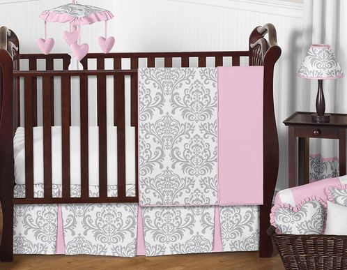 Pink, Gray and White Elizabeth Baby Bedding - 11pc Crib Set by Sweet Jojo Designs - Click to enlarge
