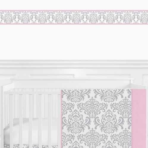 Pink, Gray and White Elizabeth Baby Bedding - 9pc Crib Set by Sweet Jojo Designs - Click to enlarge