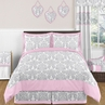 Pink, Gray and White Elizabeth Childrens and Kids Bedding - 3pc Full / Queen Set by Sweet Jojo Designs