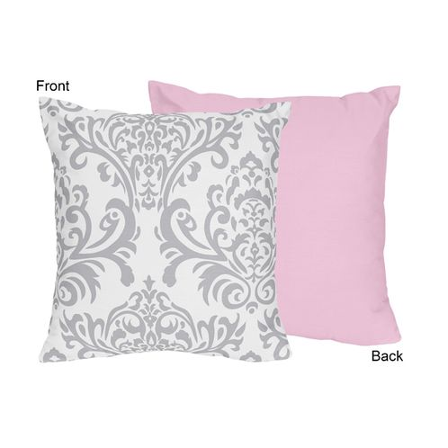Pink, Gray and White Elizabeth Decorative Accent Throw Pillow by Sweet Jojo Designs - Click to enlarge
