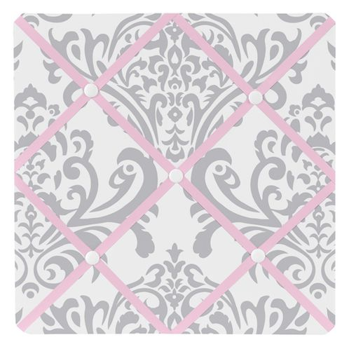 Pink, Gray and White Elizabeth Fabric Memory/Memo Photo Bulletin Board by Sweet Jojo Designs - Click to enlarge