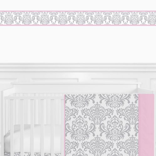 Pink, Gray and White Elizabeth Kids and Baby Modern Wall Paper Border by Sweet Jojo Designs - Click to enlarge