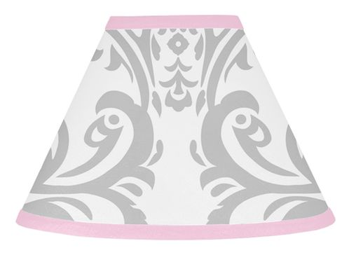 Pink, Gray and White Elizabeth Lamp Shade by Sweet Jojo Designs - Click to enlarge