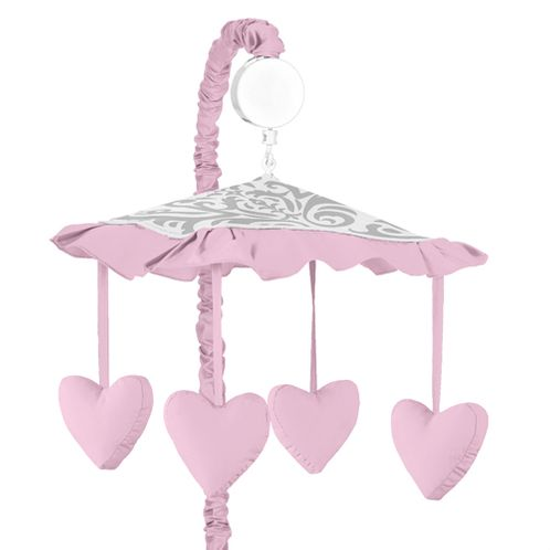 Pink, Gray and White Elizabeth Musical Baby Crib Mobile by Sweet Jojo Designs - Click to enlarge