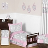 Pink, Gray and White Elizabeth Toddler Bedding - 5pc Set by Sweet Jojo Designs