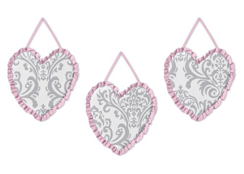 Pink, Gray and White Elizabeth Wall Hanging Accessories by Sweet Jojo Designs - Click to enlarge