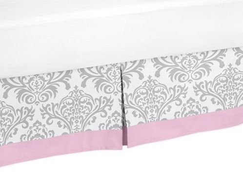 Pink, Gray and White Elizabeth Queen Bed Skirt for Childrens Teen Bedding Sets by Sweet Jojo Designs - Click to enlarge