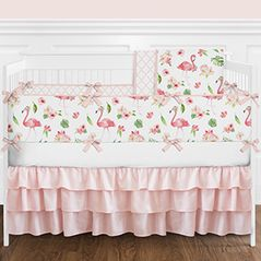 Pink, Green and White Flamingo Tropical Watercolor Floral Baby Girl Crib Bedding Set with Bumper by Sweet Jojo Designs - 9 pieces