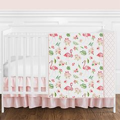 Pink, Green and White Flamingo Tropical Watercolor Floral Baby Girl Crib Bedding Set without Bumper by Sweet Jojo Designs - 4 pieces