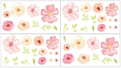 Blush Pink, Green and White Peel and Stick Wall Decal Stickers Art Nursery Decor for Black Watercolor Floral Collection by Sweet Jojo Designs - Set of 4 Sheets - Rose Flower - Click to enlarge