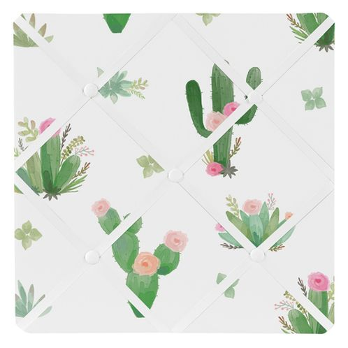 Pink Green Boho Fabric Memory Memo Photo Bulletin Board for Cactus Floral Watercolor Collection by Sweet Jojo Designs - Click to enlarge