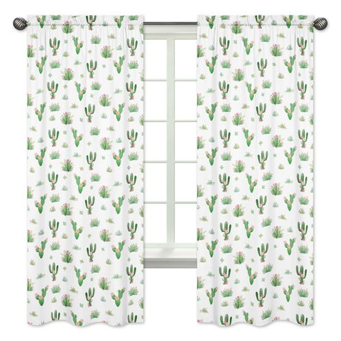 Pink Green Boho Watercolor Window Treatment Panels Curtains for Cactus Floral Collection by Sweet Jojo Designs - Set of 2 - Click to enlarge