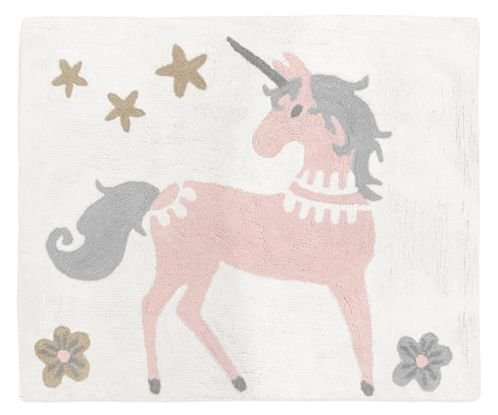 Pink, Grey and Gold Accent Floor Rug or Bath Mat for Unicorn Collection by Sweet Jojo Designs - Click to enlarge