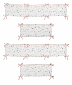 Pink, Grey and Gold Baby Crib Bumper Pad for Unicorn Collection by Sweet Jojo Designs