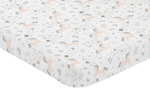 Pink, Grey and Gold Baby Fitted Mini Portable Crib Sheet for Unicorn Collection by Sweet Jojo Designs - Click to enlarge
