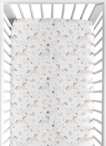 Pink, Grey and Gold Baby or Toddler Fitted Crib Sheet for Unicorn Collection by Sweet Jojo Designs - Click to enlarge