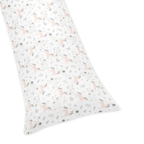 Pink, Grey and Gold Body Pillow Case Cover for Unicorn Collection by Sweet Jojo Designs (Pillow Not Included) - Click to enlarge
