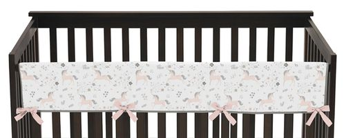 Pink, Grey and Gold Long Front Crib Rail Guard Baby Teething Cover Protector Wrap for Unicorn Collection by Sweet Jojo Designs - Click to enlarge