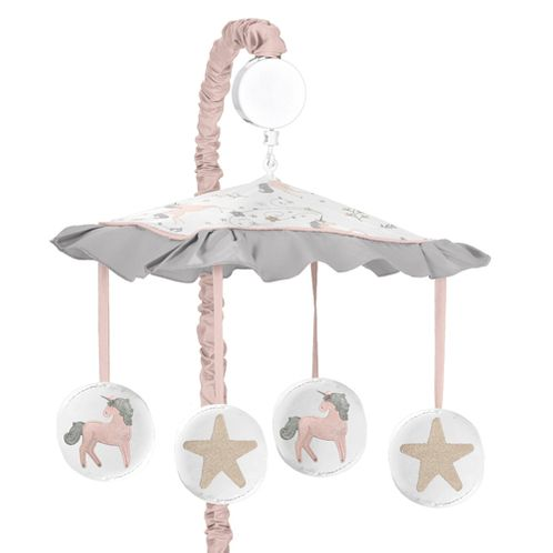 Pink, Grey and Gold Musical Baby Crib Mobile for Unicorn Collection by Sweet Jojo Designs - Click to enlarge