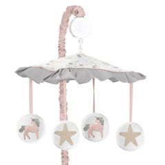Pink, Grey and Gold Musical Baby Crib Mobile for Unicorn Collection by Sweet Jojo Designs