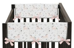 Pink, Grey and Gold Side Crib Rail Guards Baby Teething Cover Protector Wrap for Unicorn Collection by Sweet Jojo Designs - Set of 2