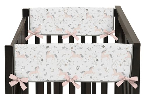 Pink, Grey and Gold Side Crib Rail Guards Baby Teething Cover Protector Wrap for Unicorn Collection by Sweet Jojo Designs - Set of 2 - Click to enlarge