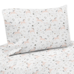 Pink, Grey and Gold Twin Sheet Set for Unicorn Collection by Sweet Jojo Designs - 3 piece set
