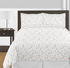 Pink, Grey and Gold Unicorn Girl Full / Queen Kid Childrens Bedding Comforter Set by Sweet Jojo Designs - 3 pieces