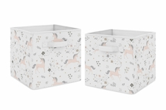 Pink, Grey and Gold Unicorn Organizer Storage Bins for Collection by Sweet Jojo Designs - Set of 2