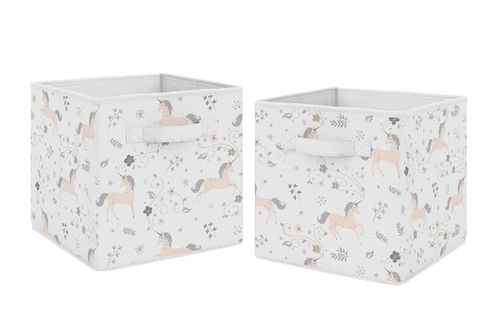 Pink, Grey and Gold Unicorn Organizer Storage Bins for Collection by Sweet Jojo Designs - Set of 2 - Click to enlarge
