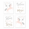 Pink, Grey and Gold Wall Art Prints Room Decor for Baby, Nursery, and Kids for Unicorn Collection by Sweet Jojo Designs - Set of 4 - Believe, Stars