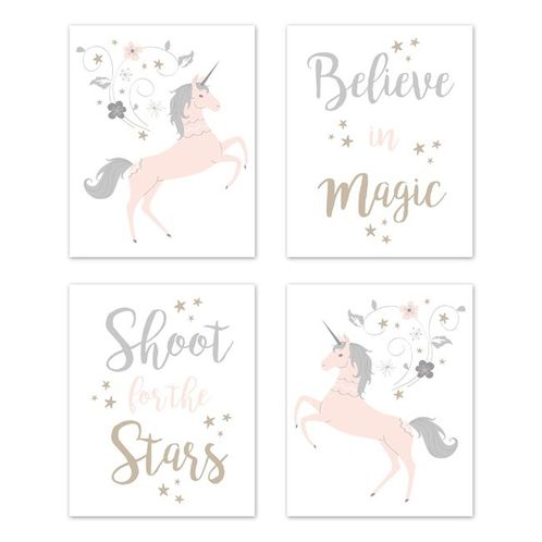 Pink, Grey and Gold Wall Art Prints Room Decor for Baby, Nursery, and Kids for Unicorn Collection by Sweet Jojo Designs - Set of 4 - Believe, Stars - Click to enlarge