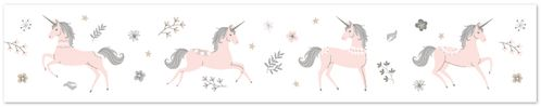 Pink, Grey and Gold Wallpaper Wall Border for Unicorn Collection by Sweet Jojo Designs - Click to enlarge