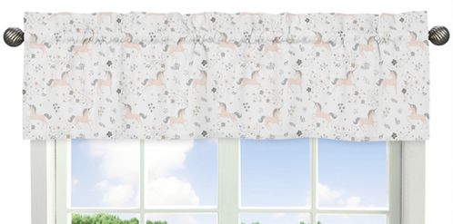Pink, Grey and Gold Window Treatment Valance for Unicorn Collection by Sweet Jojo Designs - Click to enlarge