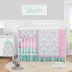 Pink, Grey and Teal Damask Baby Girl Nursery Crib Bedding Set by Sweet Jojo Designs - 5 pieces - Gray Turquoise Blue Polka Dot Skylar